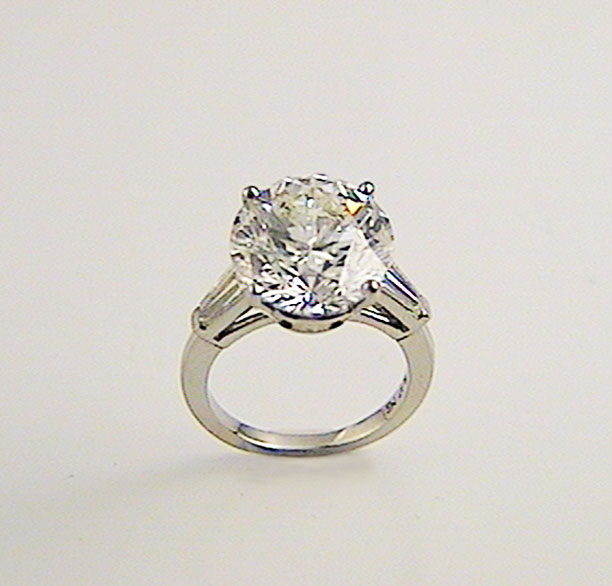 Round Engagement Ring With Baguettes K W Jewelry Kestenbaum Weisner